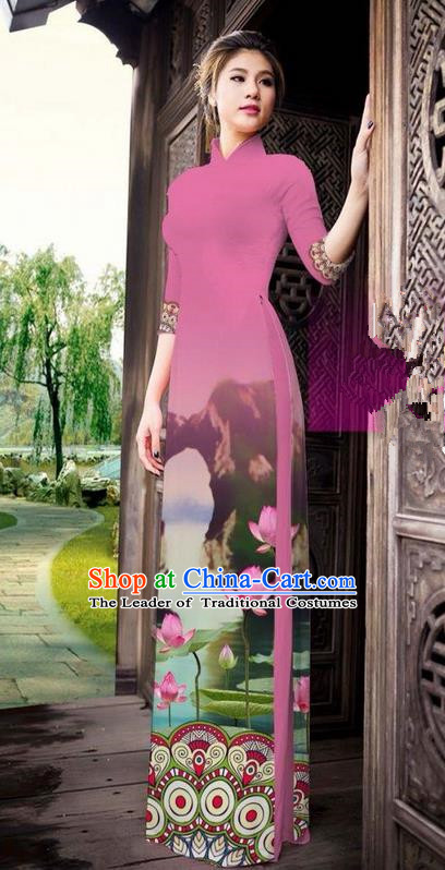 Traditional Top Grade Asian Vietnamese Ha Festival Printing China Guilin Scenery Pink Ao Dai Dress, Vietnam National Jing Nationality Cheongsam Costumes for Women