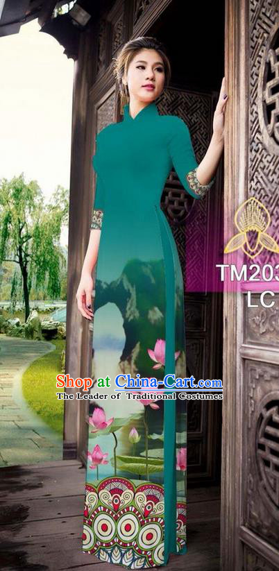 Traditional Top Grade Asian Vietnamese Ha Festival Printing China Guilin Scenery Peacock Green Ao Dai Dress, Vietnam National Jing Nationality Cheongsam Costumes for Women