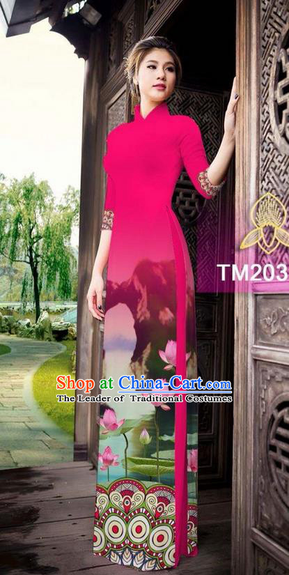 Traditional Top Grade Asian Vietnamese Ha Festival Printing China Guilin Scenery Watermelon Red Ao Dai Dress, Vietnam National Jing Nationality Cheongsam Costumes for Women