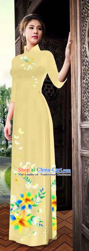 Traditional Top Grade Asian Vietnamese Ha Festival Printing Ao Dai Dress, Vietnam National Jing Nationality Long Light Yellow Cheongsam Costumes for Women
