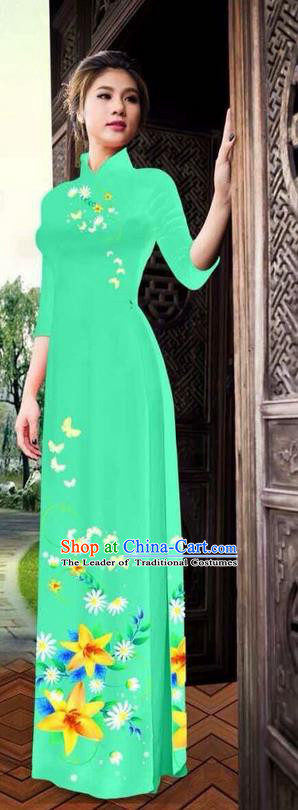 Traditional Top Grade Asian Vietnamese Ha Festival Printing Ao Dai Dress, Vietnam National Jing Nationality Long Green Cheongsam Costumes for Women