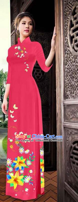 Traditional Top Grade Asian Vietnamese Ha Festival Printing Ao Dai Dress, Vietnam National Jing Nationality Long Red Cheongsam Costumes for Women