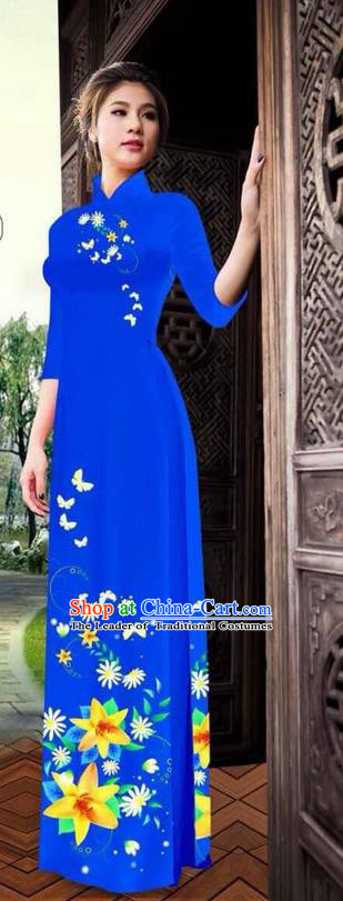 Traditional Top Grade Asian Vietnamese Ha Festival Printing Ao Dai Dress, Vietnam National Jing Nationality Long Royalblue Cheongsam Costumes for Women