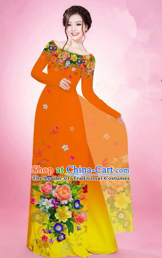 Traditional Top Grade Asian Vietnamese Ha Festival Printing Flowers Orange Ao Dai Dress, Vietnam National Jing Nationality Off Shoulder Cheongsam Costumes for Women