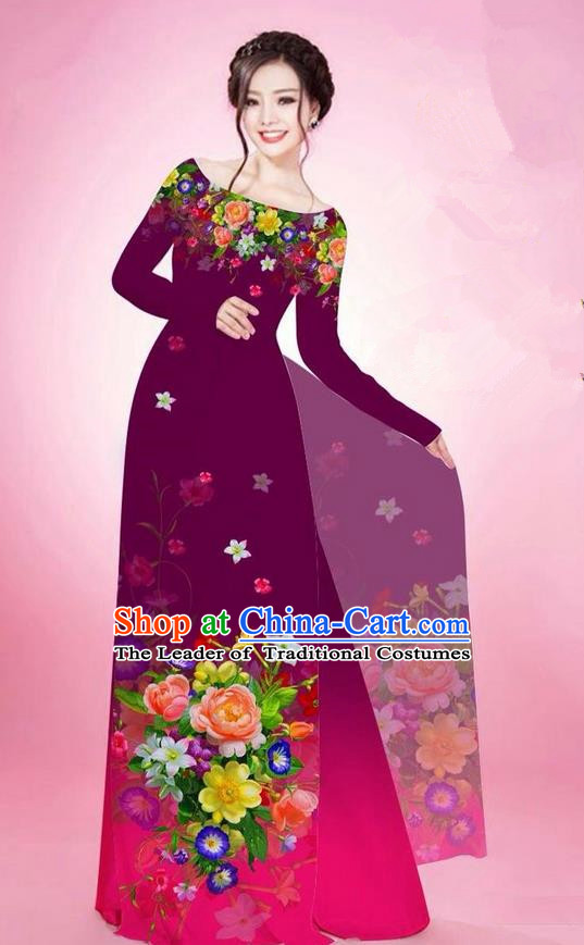 Traditional Top Grade Asian Vietnamese Ha Festival Printing Flowers Purple Ao Dai Dress, Vietnam National Jing Nationality Off Shoulder Cheongsam Costumes for Women