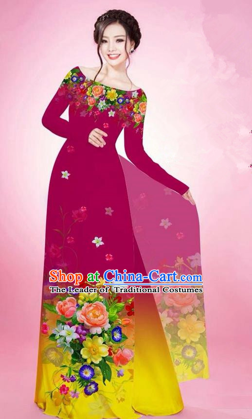 Traditional Top Grade Asian Vietnamese Ha Festival Printing Flowers Wine Red Ao Dai Dress, Vietnam National Jing Nationality Off Shoulder Cheongsam Costumes for Women