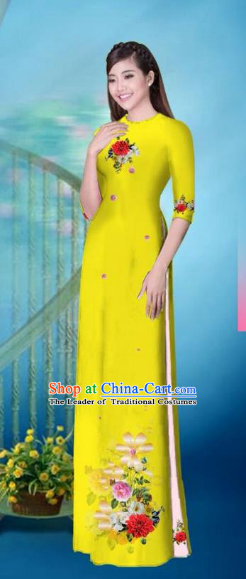 Traditional Top Grade Asian Vietnamese Ha Festival Printing Model Ao Dai Dress, Vietnam National Jing Nationality Princess Yellow Cheongsam Costumes for Women