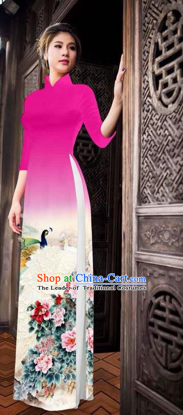 Traditional Top Grade Asian Vietnamese Ha Festival Printing Peony Pink Ao Dai Dress, Vietnam National Jing Nationality Princess Cheongsam Costumes for Women