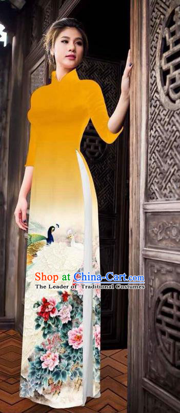 Traditional Top Grade Asian Vietnamese Ha Festival Printing Peony Ginger Ao Dai Dress, Vietnam National Jing Nationality Princess Cheongsam Costumes for Women