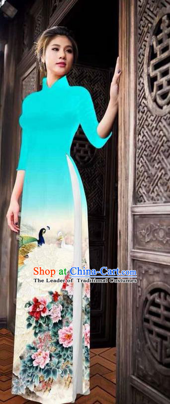 Traditional Top Grade Asian Vietnamese Ha Festival Printing Peony Light Blue Ao Dai Dress, Vietnam National Jing Nationality Princess Cheongsam Costumes for Women