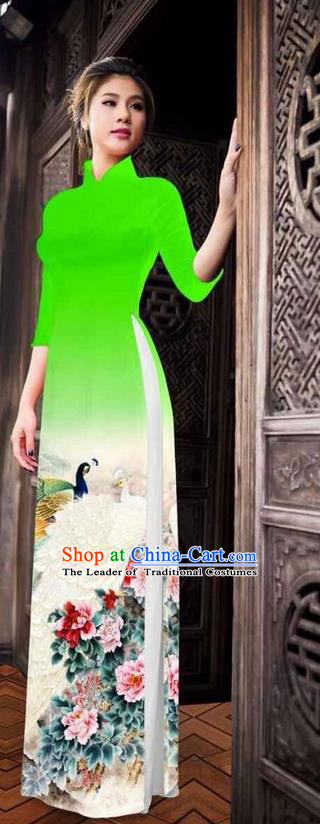 Traditional Top Grade Asian Vietnamese Ha Festival Printing Peony Green Ao Dai Dress, Vietnam National Jing Nationality Princess Cheongsam Costumes for Women