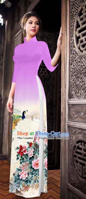 Traditional Top Grade Asian Vietnamese Ha Festival Printing Peony Pink Mauve Ao Dai Dress, Vietnam National Jing Nationality Princess Cheongsam Costumes for Women