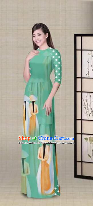 Traditional Top Grade Asian Vietnamese Ha Festival Printing Light Green Ao Dai Dress, Vietnam National Jing Nationality Princess Cheongsam Costumes for Women