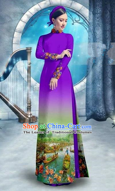 Traditional Top Grade Asian Vietnamese Ha Festival Printing Bride Handmade Ao Dai Dress, Vietnam National Jing Nationality Princess Cheongsam Costumes for Women