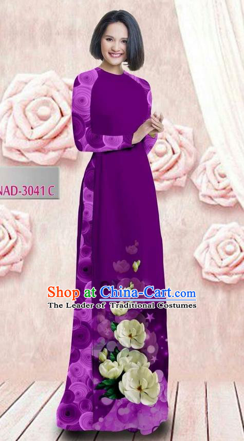 Traditional Top Grade Asian Vietnamese Ha Festival 3D Printing Bride Ao Dai Dress, Vietnam National Jing Nationality Princess Violet Cheongsam Costumes for Women