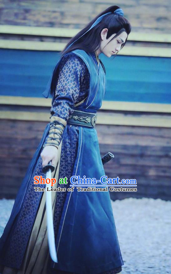 Traditional Chinese Ancient Ming Dynasty Swordsman Costumes and Handmade Headpiece Complete Set, New Dragon Gate Inn Knight Robe Clothing for Men