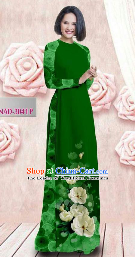 Traditional Top Grade Asian Vietnamese Ha Festival 3D Printing Bride Ao Dai Dress, Vietnam National Jing Nationality Princess Green Cheongsam Costumes for Women