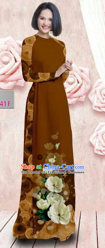 Traditional Top Grade Asian Vietnamese Ha Festival 3D Printing Bride Ao Dai Dress, Vietnam National Jing Nationality Princess Brown Cheongsam Costumes for Women