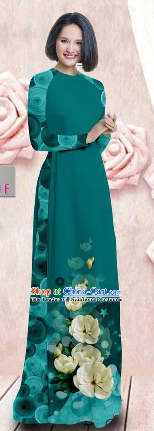 Traditional Top Grade Asian Vietnamese Ha Festival 3D Printing Bride Ao Dai Dress, Vietnam National Jing Nationality Princess Peacock Green Cheongsam Costumes for Women