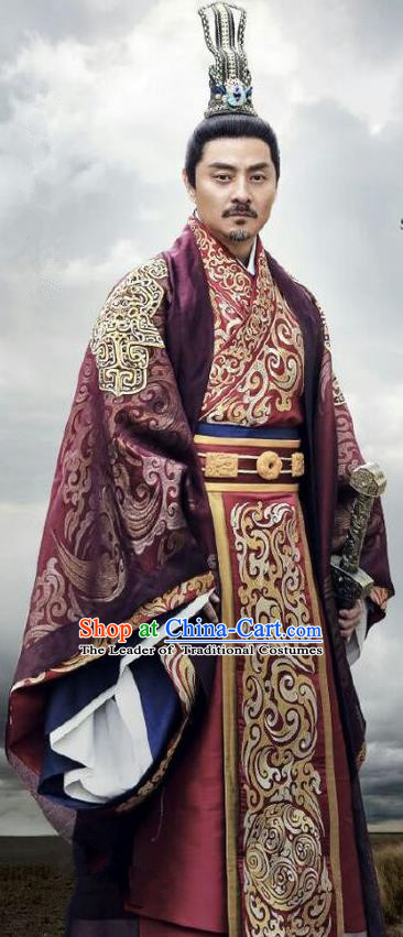 Traditional Chinese Ancient Warring States Time Imperial Magnate Male Costumes, Song of Phoenix Palace King Hanfu Clothing and Handmade Headpiece Complete Set