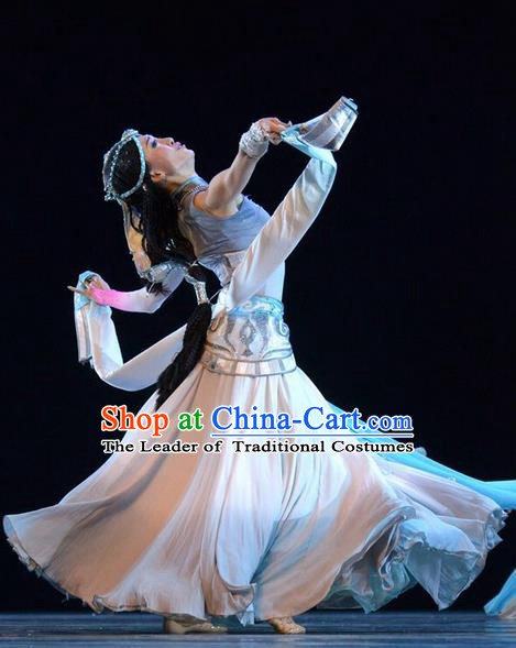 Traditional Chinese Zang Nationality Dance Costume, Tibetan Princess Dance Dress, Chinese Xizang Minority Nationality Dress for Women