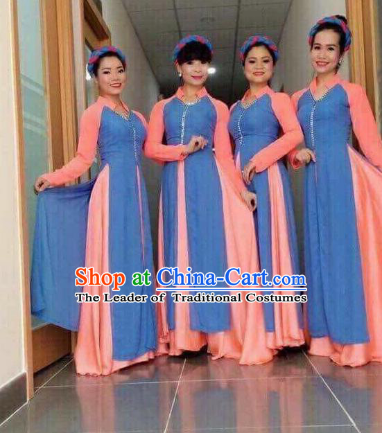 Traditional Top Grade Asian Vietnamese Ha Festival Bride Ao Dai Dress, Vietnam National Jing Nationality Princess Cheongsam Costumes for Women