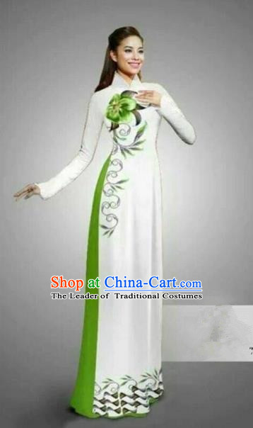 Traditional Top Grade Asian Vietnamese Ha Festival Bride Printing Ao Dai Dress, Vietnam National Jing Nationality Princess Cheongsam Costumes for Women