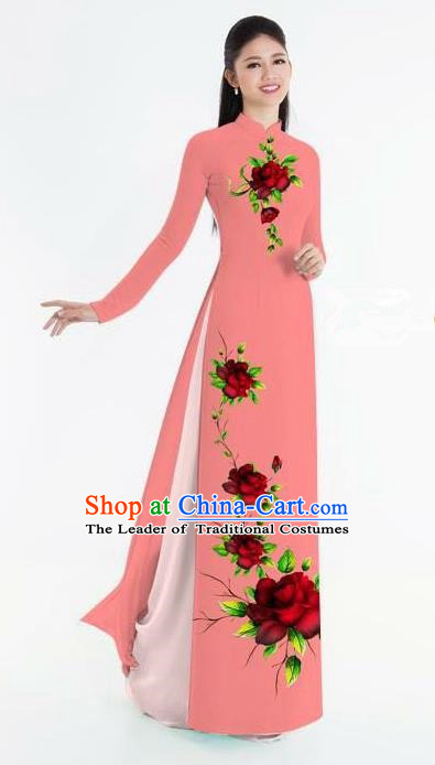 Traditional Top Grade Asian Vietnamese Ha Festival Bride Printing Ao Dai Dress, Vietnam National Jing Nationality Princess Watermelon Red Cheongsam Costumes for Women
