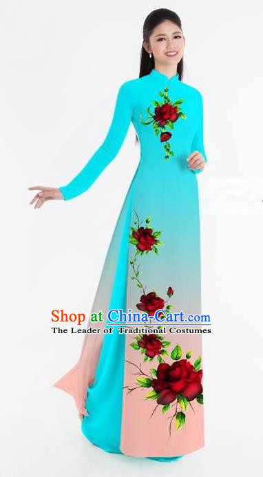 Traditional Top Grade Asian Vietnamese Ha Festival Bride Printing Ao Dai Dress, Vietnam National Jing Nationality Princess Blue Cheongsam Costumes for Women