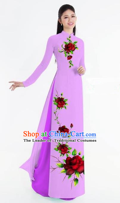 Traditional Top Grade Asian Vietnamese Ha Festival Bride Printing Ao Dai Dress, Vietnam National Jing Nationality Princess Purple Cheongsam Costumes for Women