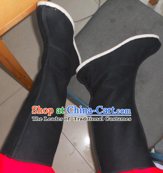 Traditional Chinese Peking Opera Shoes, China Ancient Eunuch Boots, Chinese Qing Dynasty Minister Black Boots for Men
