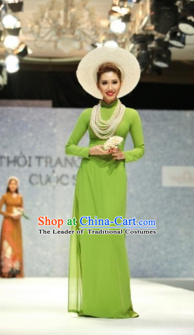 Traditional Top Grade Asian Vietnamese Ha Festival Bride Ao Dai Dress, Vietnam National Jing Nationality Princess Green Cheongsam Costumes for Women