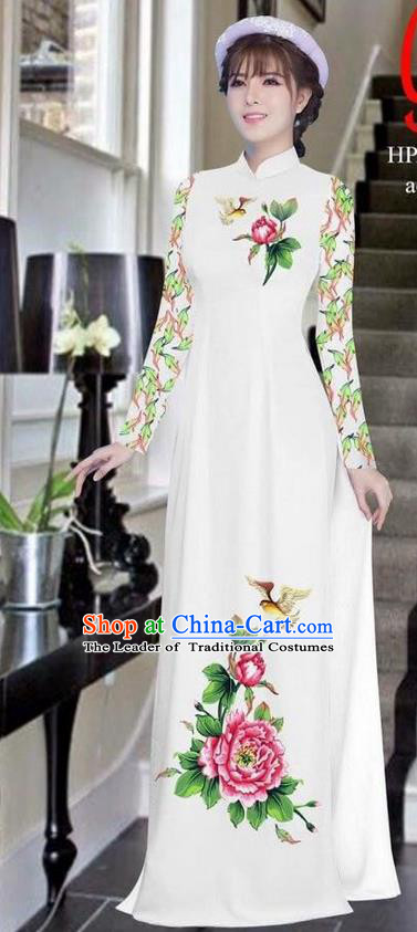 Traditional Top Grade Asian Vietnamese Ha Festival Bride Printing Peony White Ao Dai Dress, Vietnam Women National Jing Nationality Princess Cheongsam Costumes
