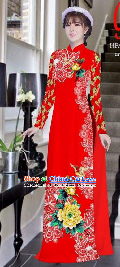 Traditional Top Grade Asian Vietnamese Ha Festival Bride Printing Peony Red Ao Dai Dress, Vietnam Women National Jing Nationality Princess Cheongsam Costumes