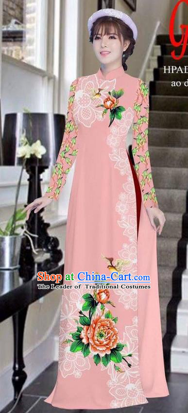 Traditional Top Grade Asian Vietnamese Ha Festival Bride Printing Peony Pink Ao Dai Dress, Vietnam Women National Jing Nationality Princess Cheongsam Costumes