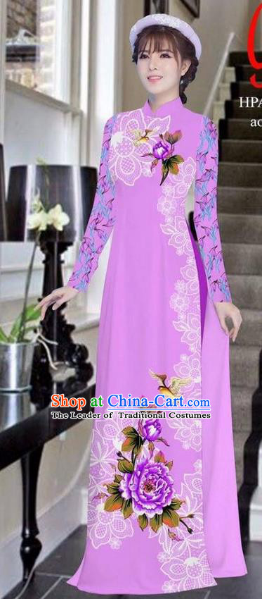 Traditional Top Grade Asian Vietnamese Ha Festival Bride Printing Peony Lilac Ao Dai Dress, Vietnam Women National Jing Nationality Princess Cheongsam Costumes