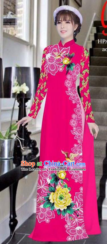 Traditional Top Grade Asian Vietnamese Ha Festival Bride Printing Peony Rosy Ao Dai Dress, Vietnam Women National Jing Nationality Princess Cheongsam Costumes