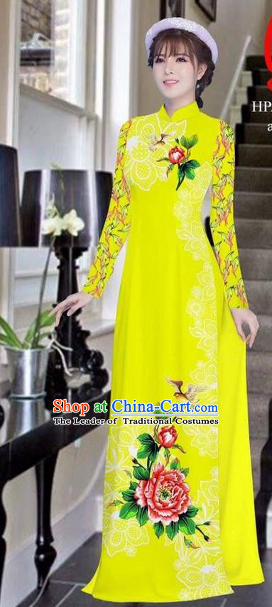 Traditional Top Grade Asian Vietnamese Ha Festival Bride Printing Peony Yellow Ao Dai Dress, Vietnam Women National Jing Nationality Princess Cheongsam Costumes