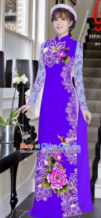 Traditional Top Grade Asian Vietnamese Ha Festival Bride Printing Peony Purple Ao Dai Dress, Vietnam Women National Jing Nationality Princess Cheongsam Costumes