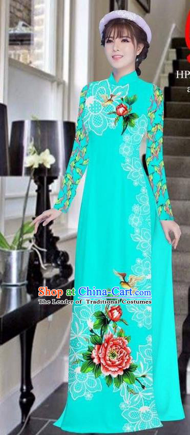 Traditional Top Grade Asian Vietnamese Ha Festival Bride Printing Peony Light Blue Ao Dai Dress, Vietnam Women National Jing Nationality Princess Cheongsam Costumes