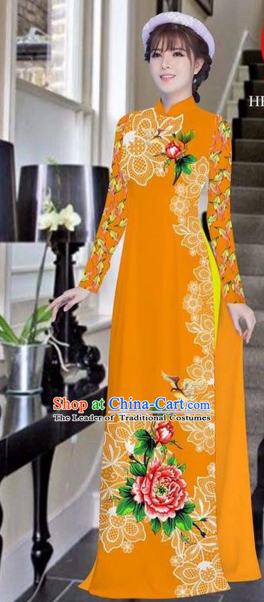 Traditional Top Grade Asian Vietnamese Ha Festival Bride Printing Peony Orange Ao Dai Dress, Vietnam Women National Jing Nationality Princess Cheongsam Costumes