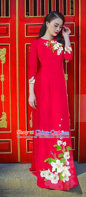 Traditional Top Grade Asian Vietnamese Ha Festival Bride Printing Ao Dai Dress, Vietnam Women National Jing Nationality Princess Red Cheongsam Costumes
