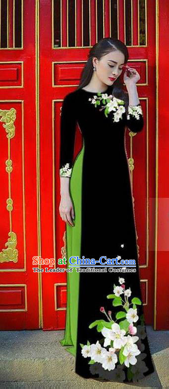 Traditional Top Grade Asian Vietnamese Ha Festival Bride Printing Ao Dai Dress, Vietnam Women National Jing Nationality Princess Black Cheongsam Costumes