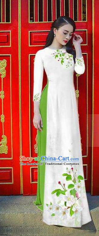 Traditional Top Grade Asian Vietnamese Ha Festival Bride Printing Ao Dai Dress, Vietnam Women National Jing Nationality Princess White Cheongsam Costumes