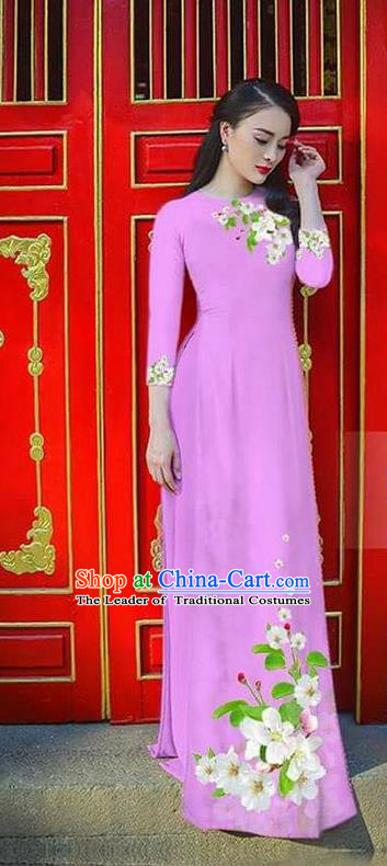 Traditional Top Grade Asian Vietnamese Ha Festival Bride Printing Ao Dai Dress, Vietnam Women National Jing Nationality Princess Lilac Cheongsam Costumes