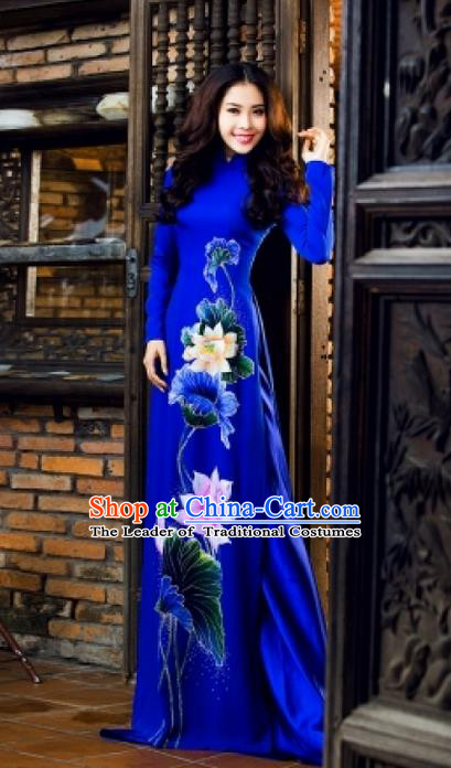Traditional Top Grade Asian Vietnamese Ha Festival Bride Printing Lotus Ao Dai Dress, Vietnam Women National Jing Nationality Princess Royalblue Cheongsam Costumes