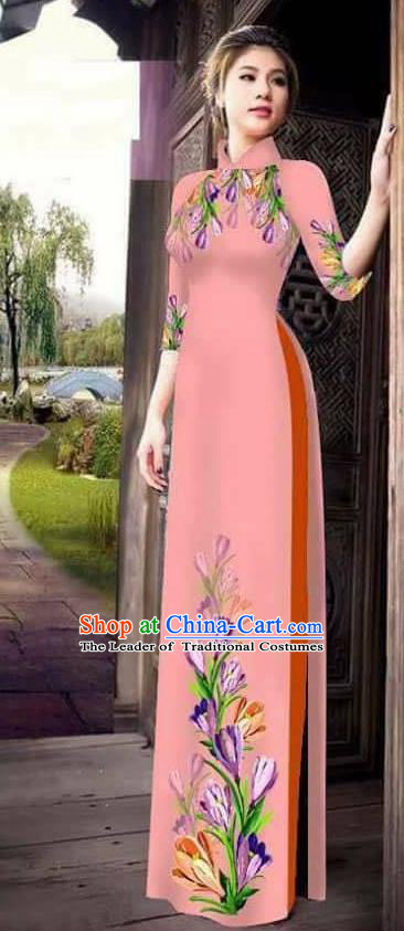 Traditional Top Grade Asian Vietnamese Ha Festival Printing Ao Dai Dress, Vietnam Women National Jing Nationality Princess Pink Cheongsam Bride Costumes