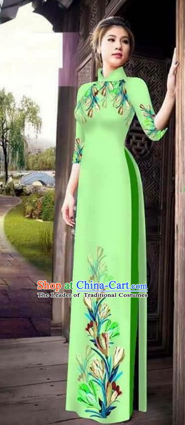 Traditional Top Grade Asian Vietnamese Ha Festival Printing Ao Dai Dress, Vietnam Women National Jing Nationality Princess Light Green Cheongsam Bride Costumes