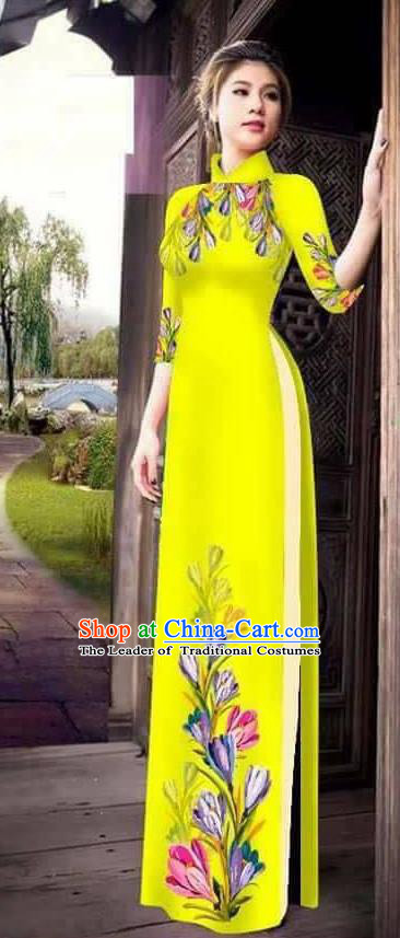 Traditional Top Grade Asian Vietnamese Ha Festival Printing Ao Dai Dress, Vietnam Women National Jing Nationality Princess Yellow Cheongsam Bride Costumes