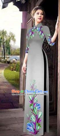Traditional Top Grade Asian Vietnamese Ha Festival Printing Ao Dai Dress, Vietnam Women National Jing Nationality Princess Grey Cheongsam Bride Costumes